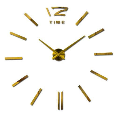 Интерьерные большие настенные кварцевые 3D часы наклейки без цифр (только цифра 12)