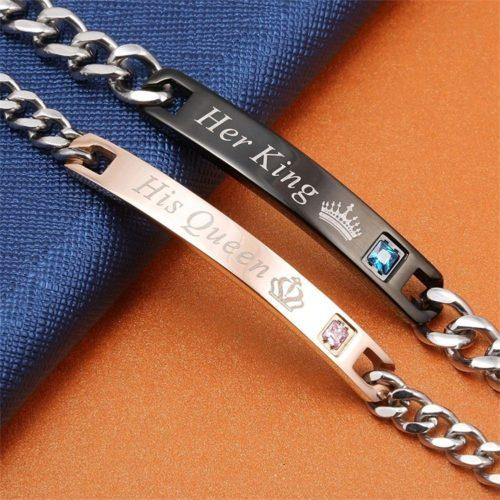 Парные браслеты на цепочке для влюбленных с надписями Her King, His Queen