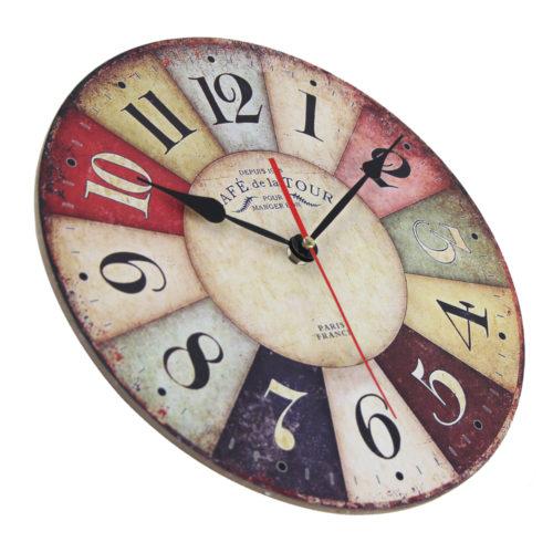 Деревянные настенные винтажные кварцевые часы 30 см