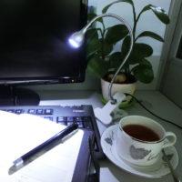 Светодиодный гибкий настольный USB светильник лампа 1 Вт на прищепке для чтения книг