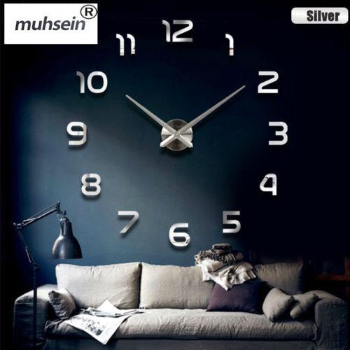 Интерьерные большие настенные кварцевые 3D часы наклейки с цифрами