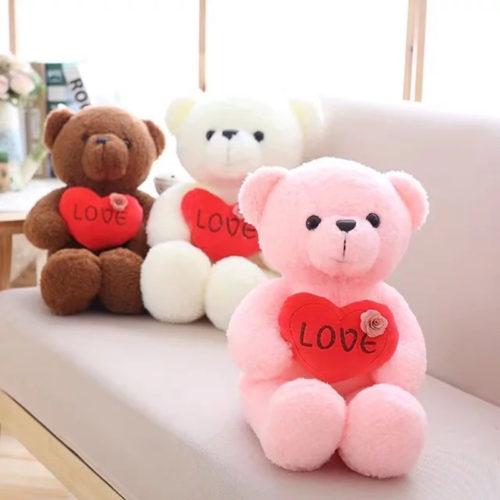 Мягкая плюшевая игрушка Мишка с сердцем 40 см