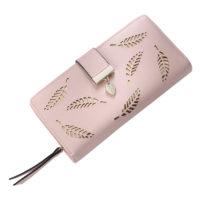 Женский длинный большой кошелек бумажник на молнии с листочками из искусственной кожи для монет, купюр и карт (длина 19 см)