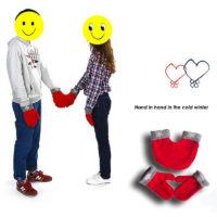 Парные варежки для двоих влюбленных (одна двойная варежка и две одиночных)