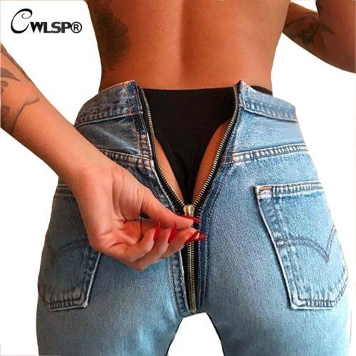 Женские черные, синие и голубые джинсы с молнией сзади на попе