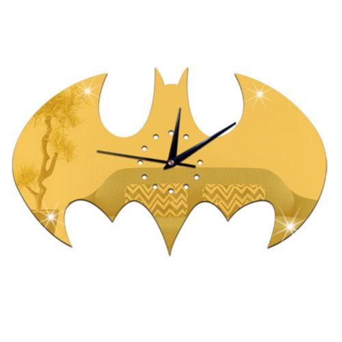 Интерьерные настенные кварцевые зеркальные часы наклейка Бэтмен
