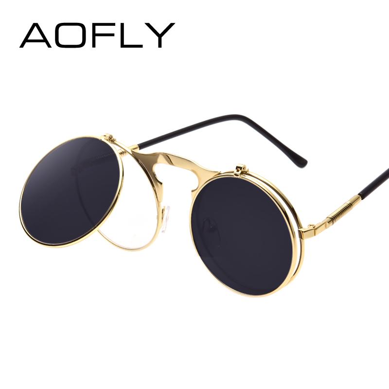 Мужские солнцезащитные очки в стиле стимпанк в металлической оправе и со  съемными зеркальными антибликовыми круглыми линзами cfc214f3e95