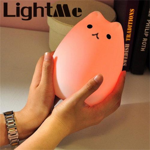 Детский LED USB силиконовый ночник Котик