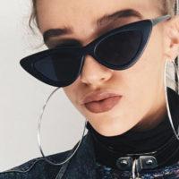 Женские солнцезащитные винтажные треугольные очки с толстой пластиковой оправой