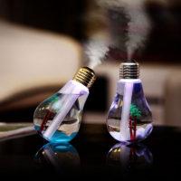 Ультразвуковой светодиодный USB увлажнитель 400 мл арома диффузор для эфирных масел в виде лампочки