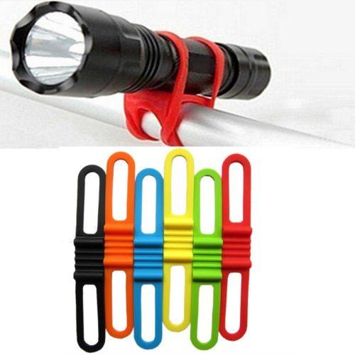 Эластичный силиконовый ремешок крепление держатель для фонарика на велосипеде