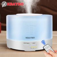 KBAYBO Ультразвуковой светодиодный бесшумный увлажнитель 500 мл арома диффузор для эфирных масел с дистанционным управлением