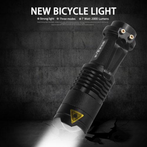 Светодиодный передний фонарик 2000 люмен для велосипеда с держателем (креплением) на руль