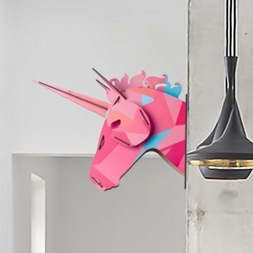 Декоративное деревянное 3D украшение на стену Голова единорога