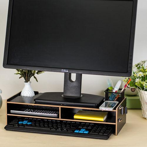 Деревянная настольная подставка органайзер под монитор компьютера