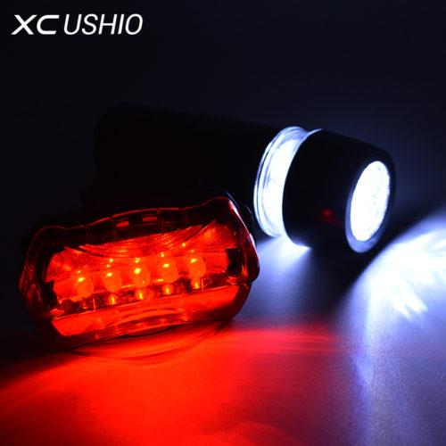 Велосипедный передний фонарик с креплением, стоп-сигнал (задний фонарь) и спидометр для велосипеда в наборе