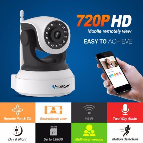 VStarcam C7824WIP беспроводная антивандальная Ip-камера видеонаблюдения 360° 720 P HD с функцией ночного видения, поддержкой карт памяти и с датчиком движения