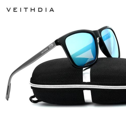 VEITHDIA Мужские классические поляризованные солнцезащитные очки с алюминиевой оправой и зеркальными антибликовыми линзами