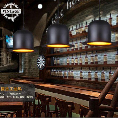 Подвесной светильник в виде шляпы котелка цилиндра