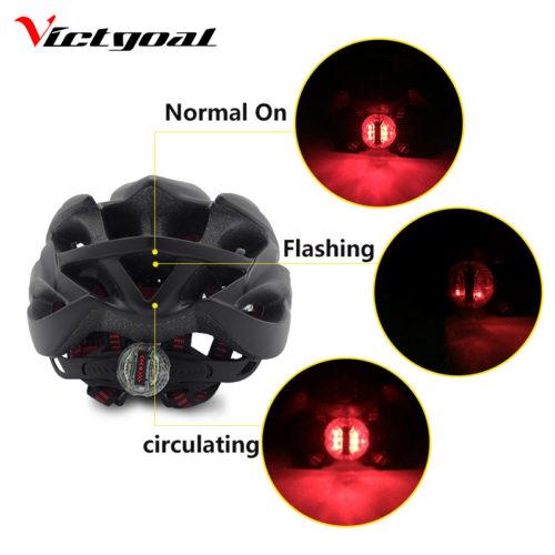 Victgoal Велосипедный шлем для взрослых с LED-подсветкой и съемным солнцезащитным козырьком