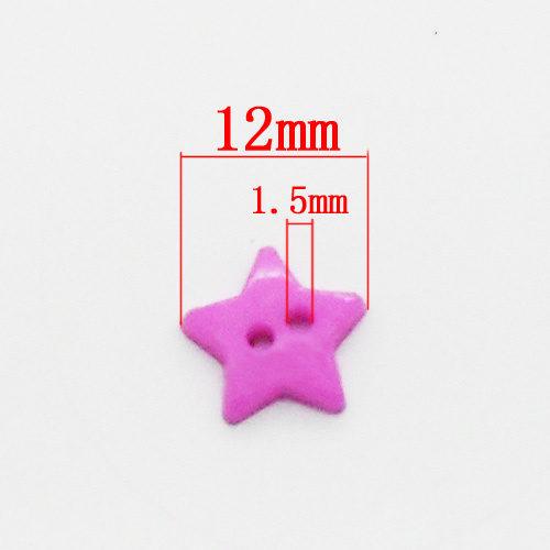 Набор акриловых разноцветных пуговиц звездочек 200 шт. 12х12 мм