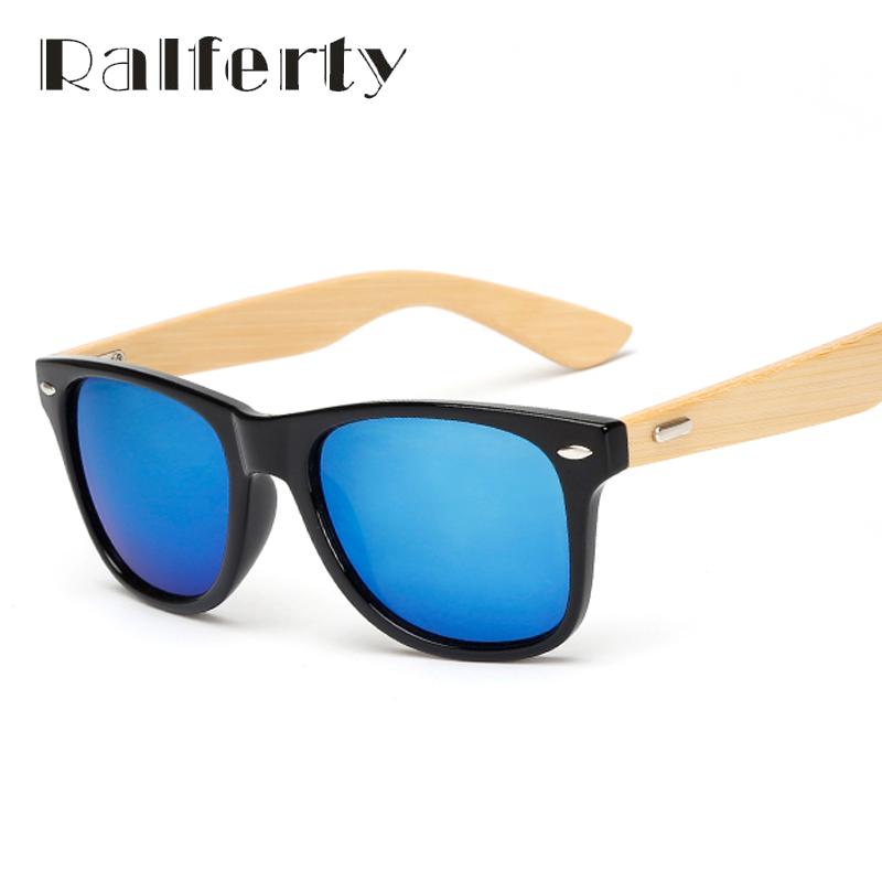 Мужские классические солнцезащитные очки с деревянными бамбуковыми дужками  и зеркальными антибликовыми линзами 77a499bffda