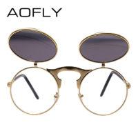Мужские солнцезащитные очки в стиле стимпанк в металлической оправе и со съемными зеркальными антибликовыми круглыми линзами