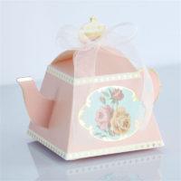 Картонная упаковка коробка для подарка, конфет в виде чайника с ленточкой 10 шт.