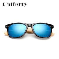 Мужские классические солнцезащитные очки с деревянными бамбуковыми дужками и зеркальными антибликовыми линзами