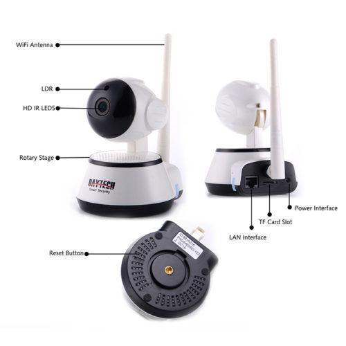 Daytech беспроводная Wi-Fi Ip-камера видеонаблюдения 350° 720 P HD с функцией ночного видения и с датчиком движения
