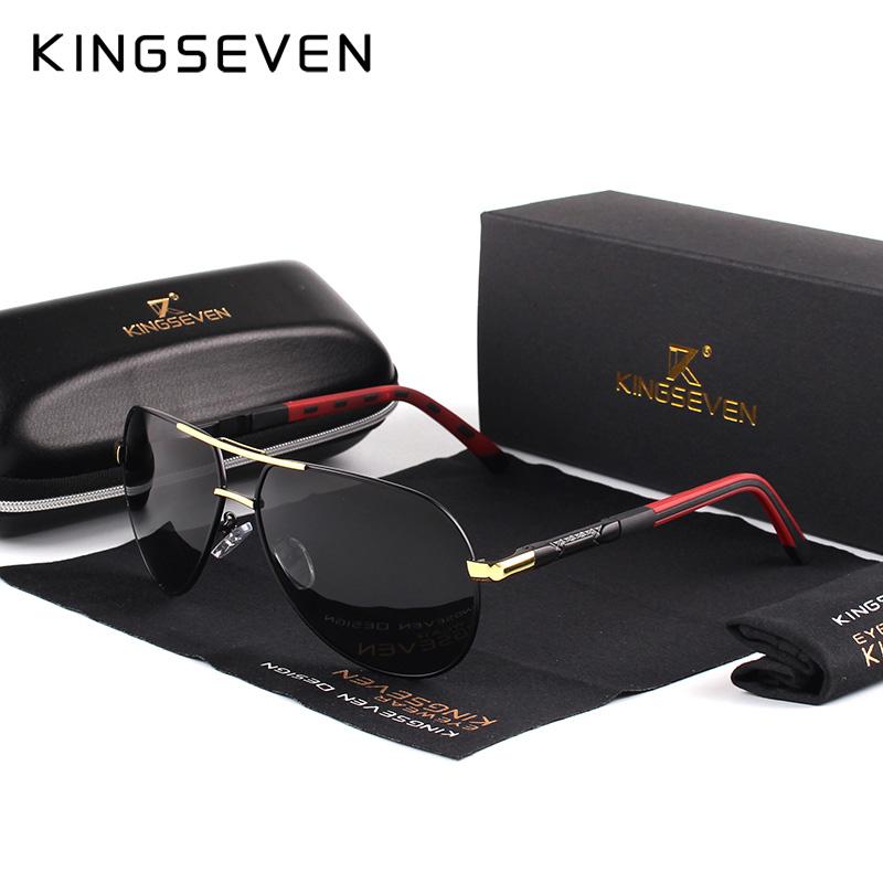 KINGSEVEN Мужские классические поляризованные солнцезащитные очки авиаторы  с антибликовыми линзами 85845b72e30