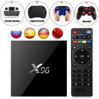 Беспроводной медиаплеер смарт тв-приставка к телевизору X96 Android 6.0, Bluetooth + клавиатура, пульт или геймпад