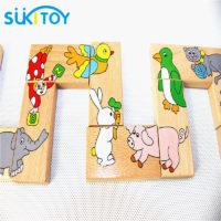 Игра деревянное домино с картинками животных для детей
