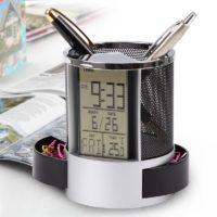 Канцелярская подставка для ручек и карандашей с календарем, часами и термометром