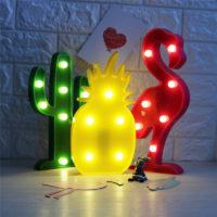 Настольный 3D ночник-лампа в виде кактуса, ананаса, фламинго, облака и других