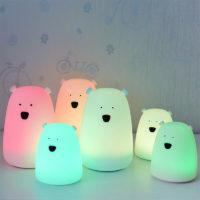 Детский LED силиконовый ночник Мишка