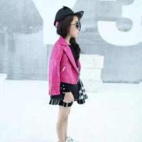 Детская черная и розовая косуха кожаная куртка из искусственной кожи для девочки