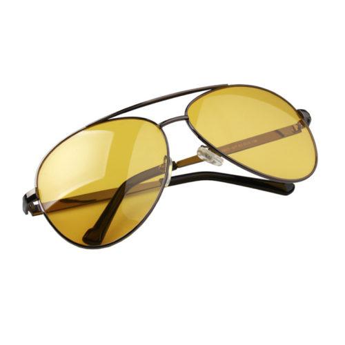 Мужские классические солнцезащитные очки авиаторы с желтыми антибликовыми линзами