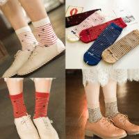 Женские хлопковые носки в полоску со следами лап кошки 5 пар
