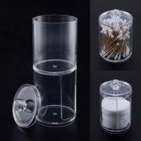 Акриловый прозрачный органайзер контейнер с двумя отделениями для ватных палочек и дисков