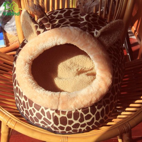 Компактный теплый мягкий домик-кровать в виде жирафа с подушкой для лежания для кошек и небольших собак