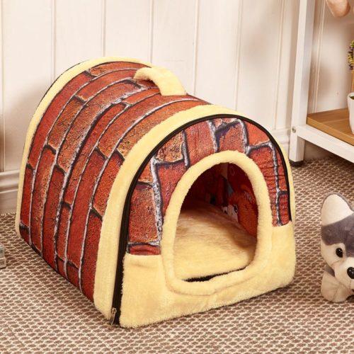 Теплый складной домик-кровать для собак и кошек с молнией и ручкой для переноски