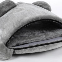 Теплый мягкий домик-кровать в виде серого мышонка для кошек