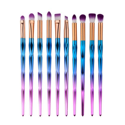 Набор радужных розово-голубых красивых кистей для макияжа глаз, бровей, губ 10 шт.