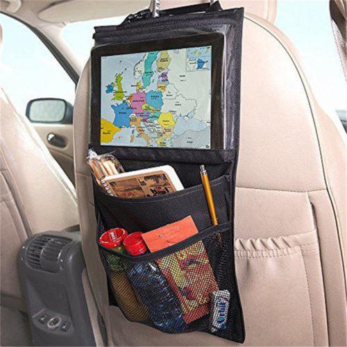 Накидка органайзер на спинку сидения автомобиля с карманами и прозрачным отделением для планшета