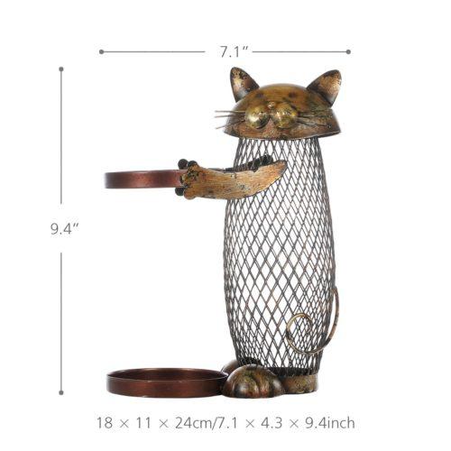 Металлический держатель-подставка для бутылки вина с котом для пробок