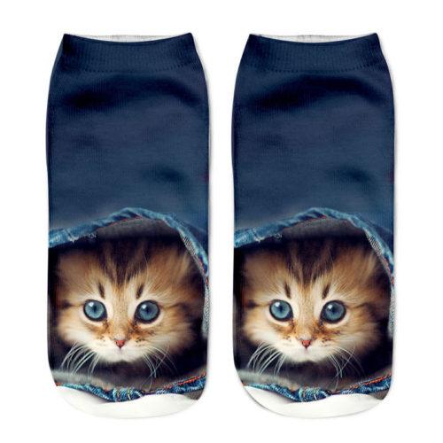 Женские короткие носки с 3D рисунком котов