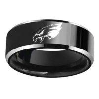 Мужское черное кольцо с логотипом команды Philadelphia Eagles Орлом из нержавеющей стали