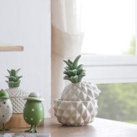 Керамическая белая шкатулка в виде ананаса с крышкой