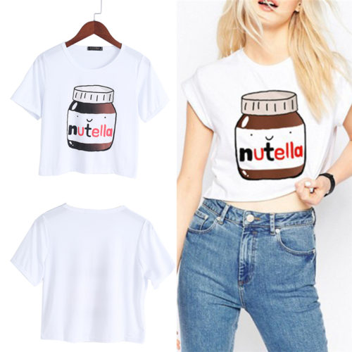 Женская укороченная футболка с рисунком банки Нутеллы (Nutella)
